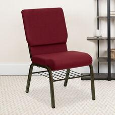 HERCULES Series 18.5''W Church Chair in Burgundy Fabric with Book Rack - Gold Vein Frame