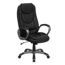 High Back Black Leather Executive Swivel Chair with Curved Back, Accent Stitching and Loop Arms