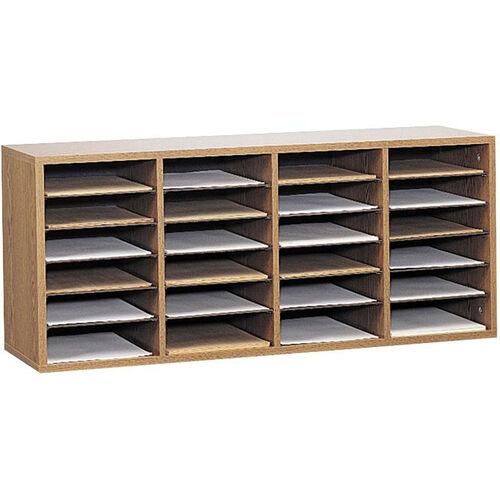 Adjustable Wooden Literature Organizer with Twenty-Four Compartment - Medium Oak
