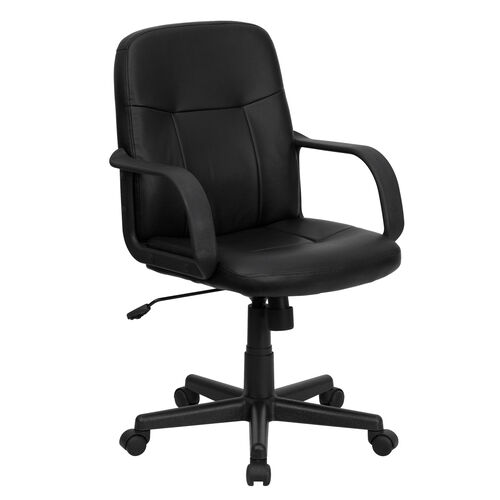 Our Mid-Back Black Glove Vinyl Executive Swivel Office Chair with Arms is on sale now.