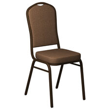 Embroidered Crown Back Banquet Chair in Shire Acorn Fabric - Gold Vein Frame