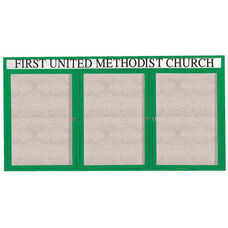 3 Door Outdoor Enclosed Bulletin Board with Header and Green Powder Coated Aluminum Frame - 36