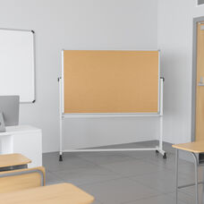 """HERCULES Series 45.25""""W x 54.75""""H Reversible Mobile Cork Bulletin Board and White Board with Pen Tray"""