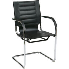 Ave Six Trinidad Vinyl Guest Chair with Curved Metal Base - Black