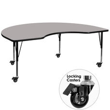 Mobile 48''W x 96''L Kidney HP Laminate Activity Table - Height Adjustable Short Legs