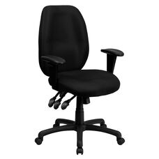High Back Black Fabric Multifunction Ergonomic Executive Swivel Office Chair with Adjustable Arms