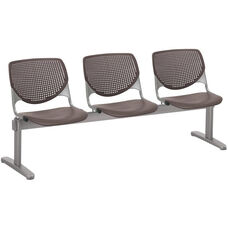 2300 KOOL Series Beam Seating with 3 Poly Perforated Back and Seats with Silver Frame - Brownstone