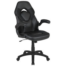 BlackArc X10 Gaming Chair Racing Office Ergonomic Computer PC Adjustable Swivel Chair with Flip-up Arms, Black LeatherSoft