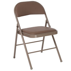 HERCULES Series Double Braced Beige Vinyl Folding Chair