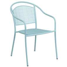 Commercial Grade Sky Blue Indoor-Outdoor Steel Patio Arm Chair with Round Back