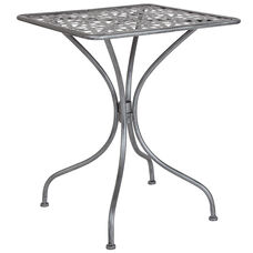 "Agostina Series 23.5"" Square Antique Silver Indoor-Outdoor Steel Patio Table"