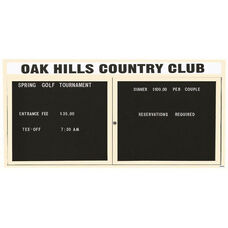 2 Door Indoor Illuminated Enclosed Directory Board with Header and Ivory Anodized Aluminum Frame - 36