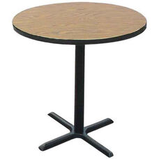 Laminate Top Round Cafe Table with 42''H Cast Iron X-Base - 48'' Diameter