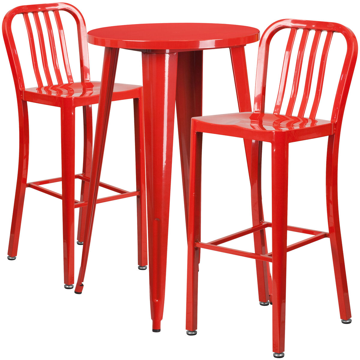 Our 24 Round Red Metal Indoor Outdoor Bar Table Set With 2 Vertical