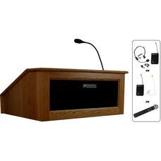 Solid Hardwood Victoria Wireless 150 Watt Sound and Hand Held Mic Tabletop Lectern - Walnut Finish - 27