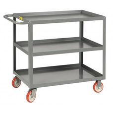 Welded Service Cart With 3 Lipped Shelves - 24''W x 36''D