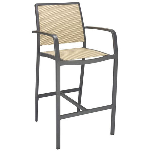 Our South Beach Collection Aluminum Outdoor Barstool with Arms and Textile Back - Light Basket is on sale now.