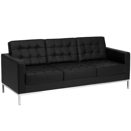 Our HERCULES Lacey Series Contemporary Black Leather Sofa with Stainless Steel Frame is on sale now.