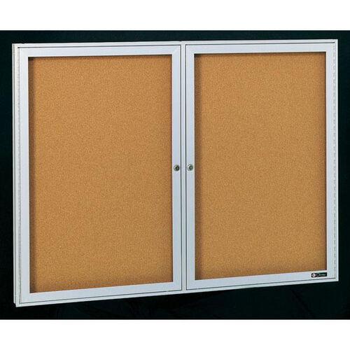 Deluxe 2 Door Bulletin Board Cabinet with Tan Nucork Back Panel - 48