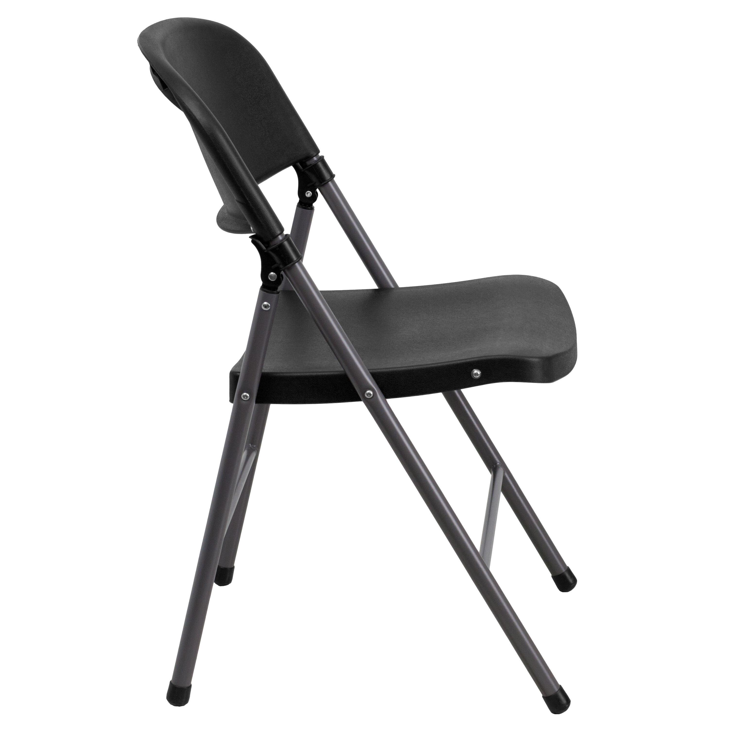 Genial Capacity Black Plastic Folding Chair With Charcoal Frame Is On ...