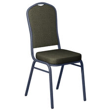 Embroidered Shire Limelight Fabric Upholstered Crown Back Banquet Chair - Silver Vein Frame