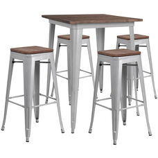 """31.5"""" Square Silver Metal Bar Table Set with Wood Top and 4 Backless Stools"""
