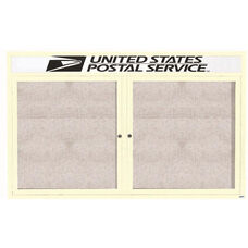 2 Door Outdoor Illuminated Enclosed Bulletin Board with Header and Ivory Powder Coated Aluminum Frame - 48