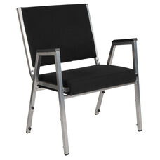 HERCULES Series 1500 lb. Rated Black Antimicrobial Fabric Bariatric Arm Chair with Silver Vein Frame