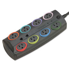 Kensington® SmartSockets Color-Coded Surge Protector - 8 Outlets - 8 ft Cord - 3090 Joules
