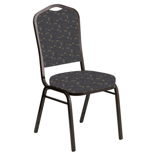Our Embroidered Crown Back Banquet Chair in Circuit Gray Fabric - Gold Vein Frame is on sale now.