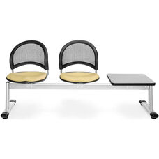 Moon 3-Beam Seating with 2 Golden Flax Fabric Seats and 1 Table - Gray Nebula Finish
