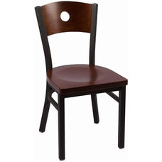 Circle Series Wood Back Armless Chair with Steel Frame and Wood Seat - Walnut
