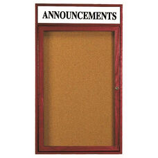 1 Door Enclosed Bulletin Board with Header and Cherry Finish - 24