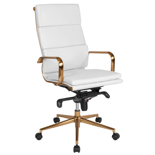 Our High Back White Leather Executive Swivel Office Chair with Gold Frame, Synchro-Tilt Mechanism and Arms is on sale now.