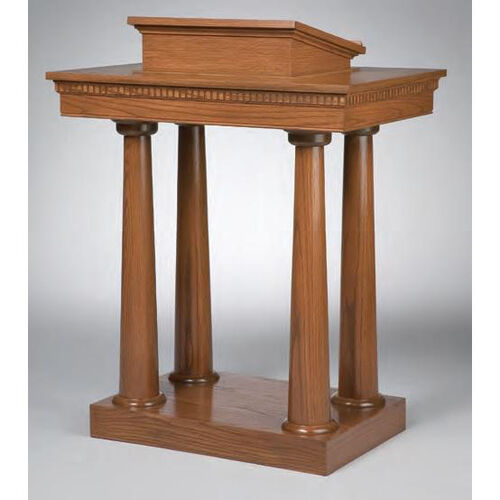 Our Stained Red Oak Open Pulpit with Tapered Column Legs is on sale now.