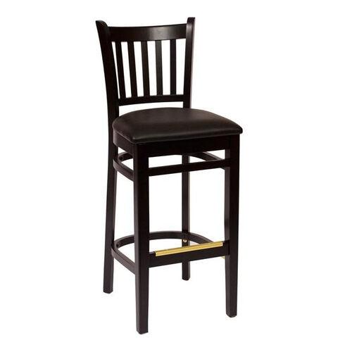 Our Delran Black Wood Slat Back Barstool - Vinyl Seat is on sale now.