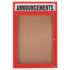 1 Door Indoor Enclosed Bulletin Board with Header and Red Powder Coated Aluminum Frame - 48
