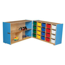 Half & Half Blue Storage Shelf Unit with Rolling Casters and Twenty Multi-Colored Cubby Trays - 96