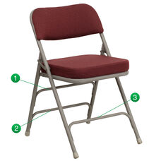 HERCULES Series Premium Curved Triple Braced & Double Hinged Burgundy Fabric Metal Folding Chair