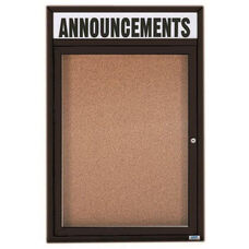 1 Door Indoor Enclosed Bulletin Board with Header and Black Powder Coated Aluminum Frame - 24