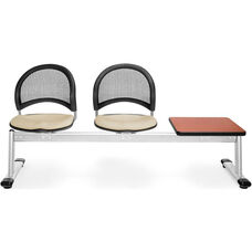 Moon 3-Beam Seating with 2 Khaki Fabric Seats and 1 Table - Cherry Finish