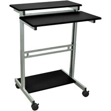 Steel Frame 3 Shelf Adjustable Height Standing Presentation Station - Black - 29