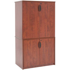 Legacy 65''H Locking Storage Cabinet with Stackable Storage Cabinet - Cherry