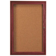 1 Door Enclosed Bulletin Board with Cherry Finish - 24