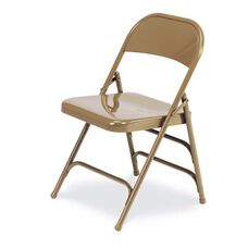Quick Ship Multi-Purpose Steel Folding Chair with 2 Rear Leg Braces - Golden Bronze Finish - 17.75''W x 18.62''D x 29.5''H