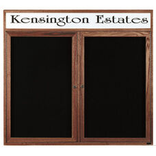 2 Door Enclosed Changeable Letter Board with Header and Walnut Finish - 48