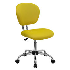 Mid-Back Yellow Mesh Swivel Task Chair with Chrome Base