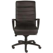 Manchester High Back 25.8'' W x 29'' D x 42'' H Adjustable Height Leather Office Chair - Black