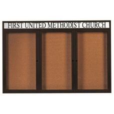 3 Door Indoor Illuminated Enclosed Bulletin Board with Header and Black Powder Coated Aluminum Frame - 48