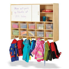 10 Section Wall Mount Coat Locker with Storage with Clear Cubbie-Trays